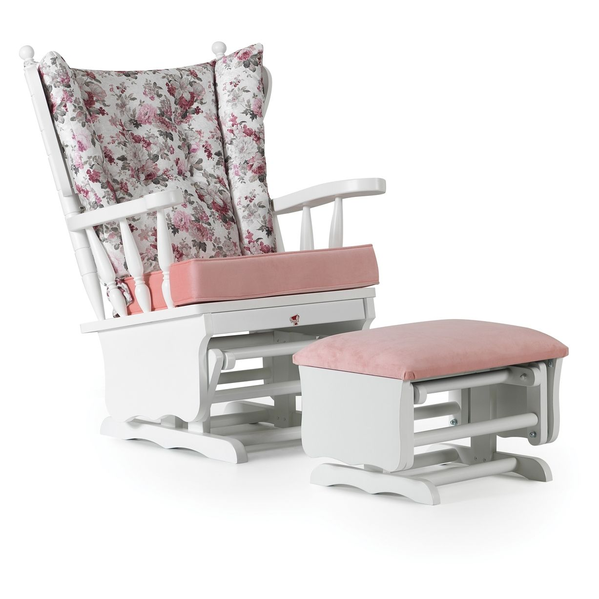 KUPA Rocking Chair and Gliders Ottoman for Nursery ( Pink )